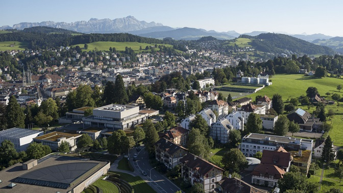 Aerial photograph of the Library Building and the Main Building of the University of St.Gallen (HSG)
